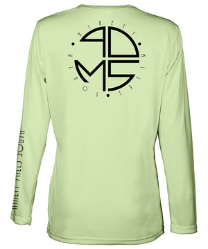 Ladies V-Neck | 90MS Round Logo Shirt | back view of a olive green ladies long sleeve performance v-neck shirt featuring 90 Miles South big round logo