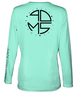 Ladies V-Neck | 90MS Round Logo Shirt | back view of a sea foam green ladies long sleeve performance v-neck shirt featuring 90 Miles South big round logo