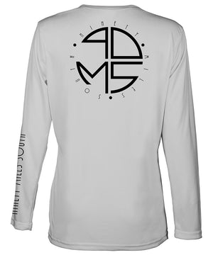 Ladies V-Neck | 90MS Round Logo Shirt | back view of a light silver ladies long sleeve performance v-neck shirt featuring 90 Miles South big round logo