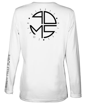 Ladies V-Neck | 90MS Round Logo Shirt | back view of a white ladies long sleeve performance v-neck shirt featuring 90 Miles South big round logo