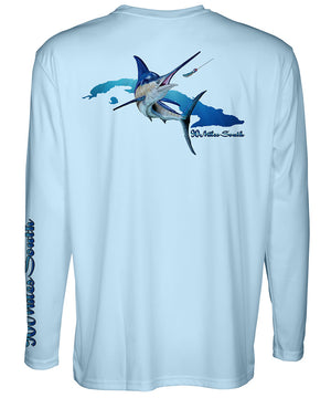 Cuban T-Shirt | Blue Marlin - back view of a light blue long sleeve performance t-shirt depicting a blue marlin and the island of Cuba