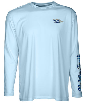 front view of a light blue long sleeve performance T-Shirt shirt with a left chest 90 miles south Island Logo and left sleeve logo