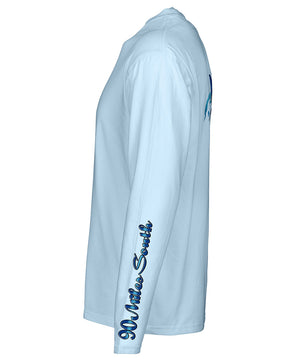 side view of a light blue long sleeve performance t-shirt featuring 90 miles south sleeve logo