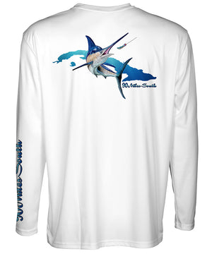Cuban T-Shirt | Blue Marlin - back view of a white long sleeve performance t-shirt depicting a blue marlin and the island of Cuba