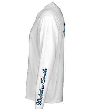side view of a white long sleeve performance t-shirt featuring 90 miles south sleeve logo