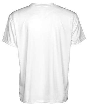 back view of men's white short sleeve tee shirt