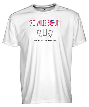 Front view of men's white short sleeve shirt with 90 Miles South logo and dominos line art
