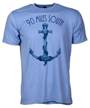 Front view of short sleeve heather blue tee shirt with dark blue artwork of 90 Miles South Anchor