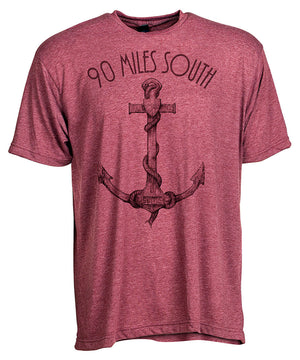 Front view of short sleeve burgundy tee shirt with dark burgundy artwork of 90 Miles South Anchor