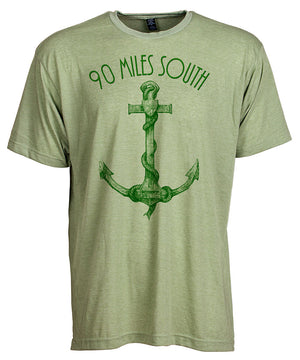Front view of short sleeve heather green tee shirt with dark green artwork of 90 Miles South Anchor