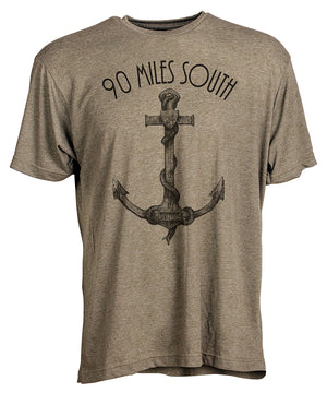 Front view of short sleeve military green tee shirt with black artwork of 90 Miles South Anchor