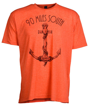 Front view of short sleeve heather orange tee shirt with black artwork of 90 Miles South Anchor