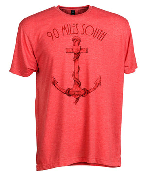 Front view of short sleeve heather red tee shirt with dark red artwork of 90 Miles South Anchor