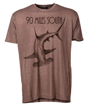 Front view of short sleeve heather brown tee shirt with dark brown artwork of 90 Miles South Hammerhead Shark