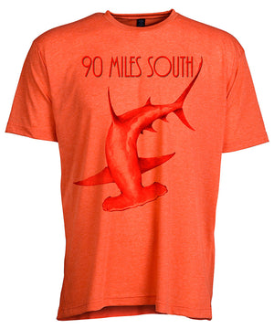 Front view of short sleeve heather orange tee shirt with dark orange artwork of 90 Miles South Hammerhead Shark