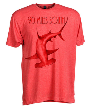 Front view of short sleeve heather red tee shirt with dark red artwork of 90 Miles South Hammerhead Shark
