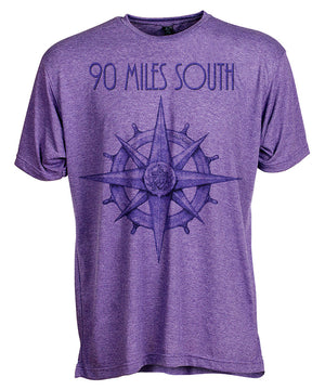 Front view of short sleeve heather purple tee shirt with dark purple artwork of 90 Miles South compass