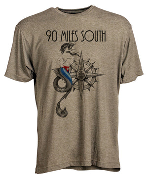 Front view of short sleeve military green tee shirt with black artwork of 90 Miles South Mermaid