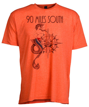Front view of short sleeve heather orange tee shirt with black artwork of 90 Miles South Mermaid