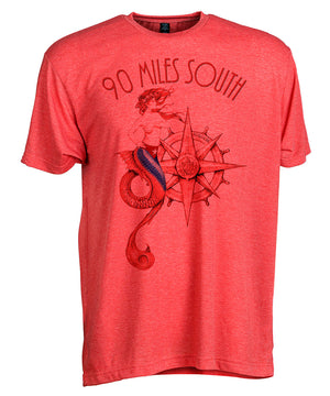 Front view of short sleeve heather red tee shirt with dark red artwork of 90 Miles South Mermaid