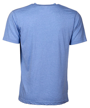 Back view of short sleeve heather blue tee shirt