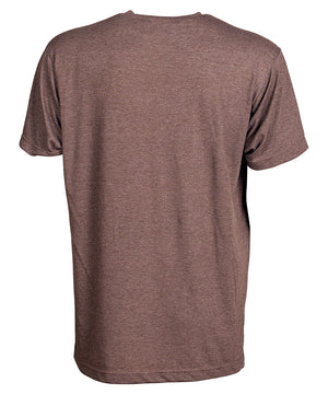 Back view of short sleeve heather brown tee shirt