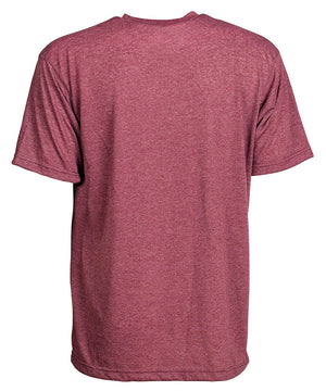 Back view of short sleeve heather burgundy tee shirt