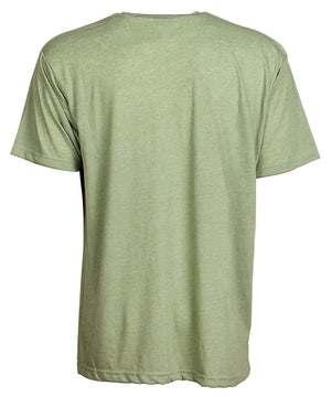 Back view of short sleeve heather green tee shirt