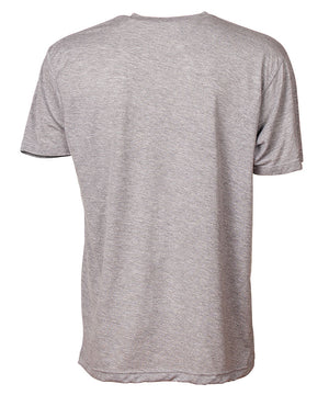 Back view of short sleeve heather grey tee shirt
