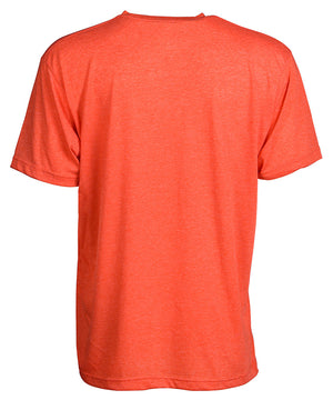 Back view of short sleeve heather orange tee shirt