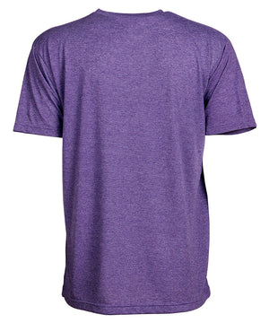 Back view of short sleeve heather purple tee shirt