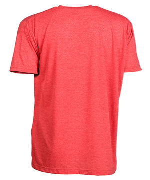 Back view of short sleeve heather red tee shirt