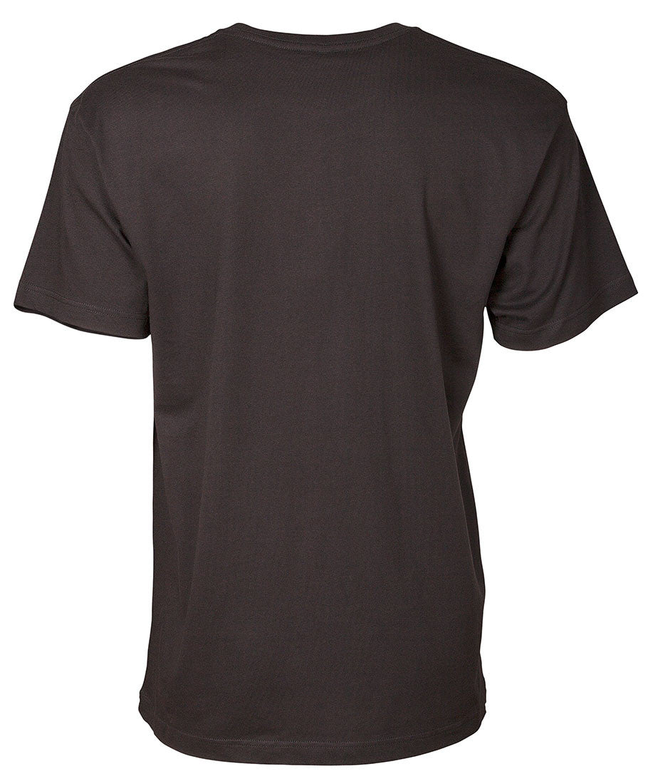 Front view of men's black short sleeve with white 90 Miles South Logo across chest