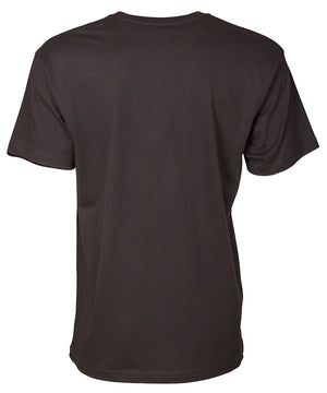 Back view of men's black short sleeve shirt
