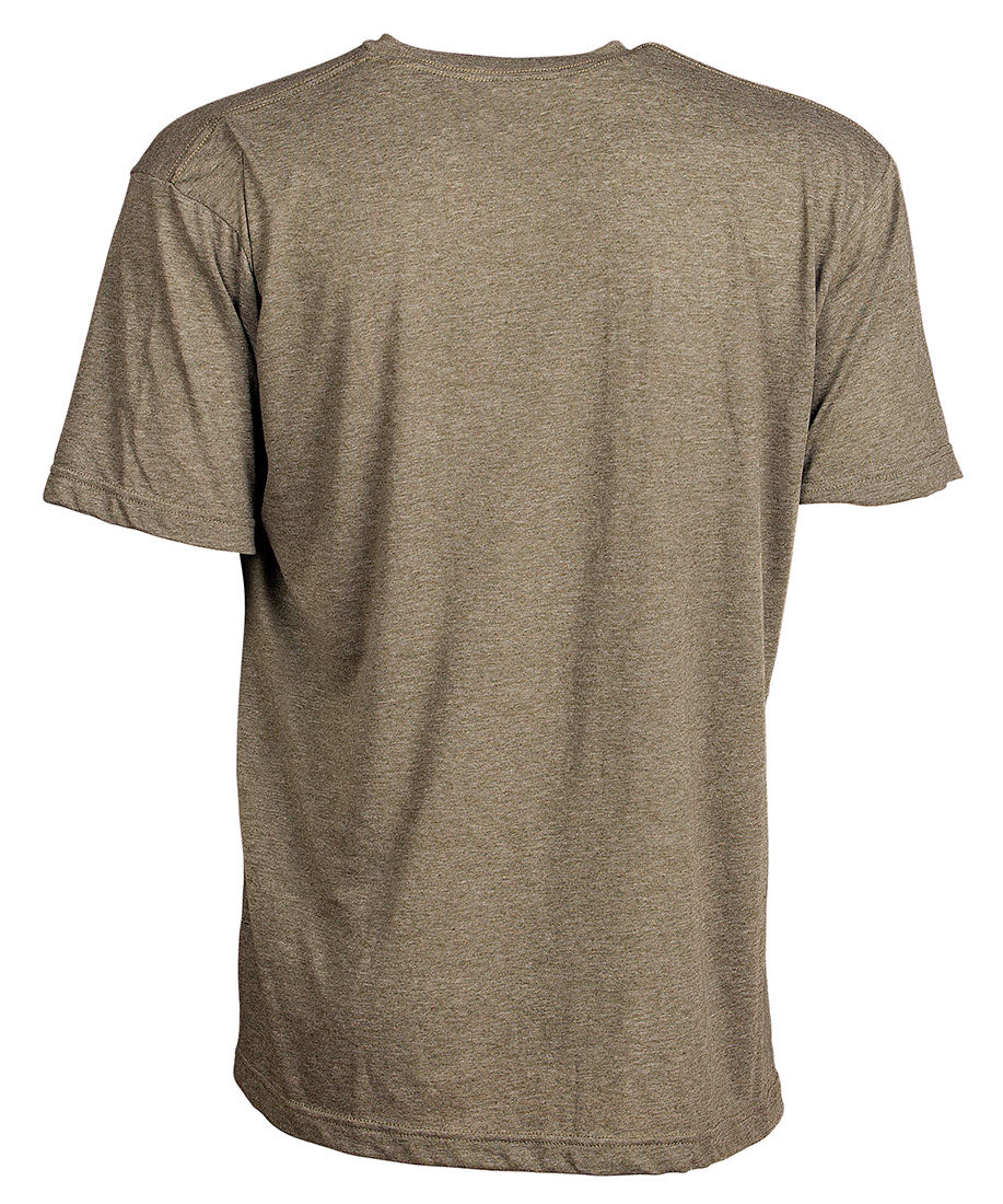 Front view of short sleeve military green tee shirt with black artwork of 90 Miles South Hammerhead Shark