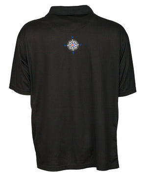back view of men's black polo shirt with embroidered compass graphic