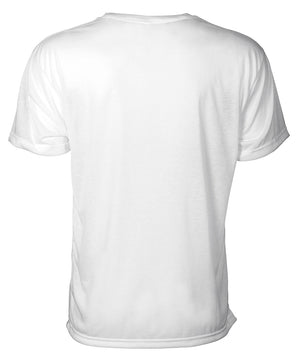 Back view of white short sleeve tee shirt