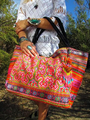 Deuon Multi Color Printed Hmong Textile Weekender Tote with Hand Beaded Keychain Lifestyle