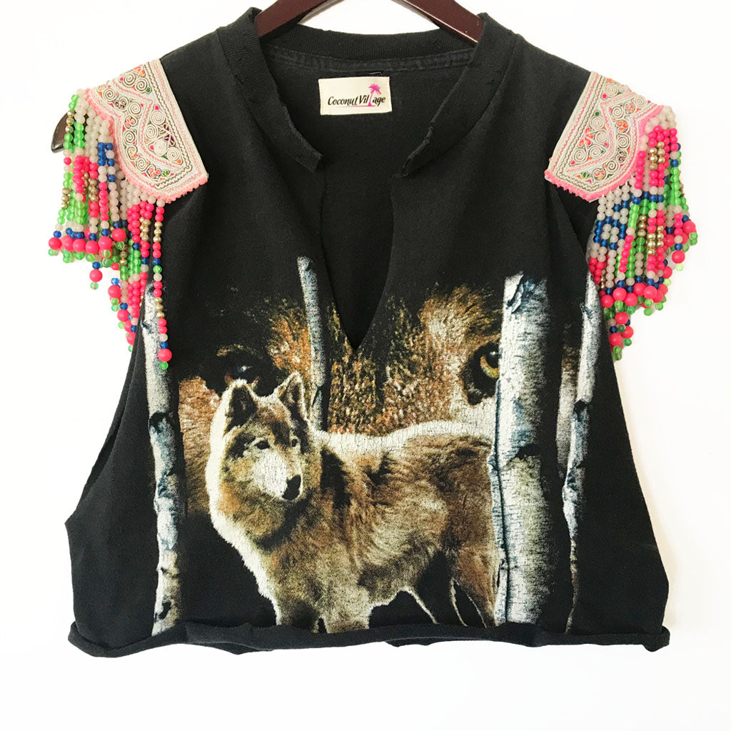 Farxng Distressed Wolf Graphic Tee with Hmong Multi Color Printed Textile and Hand Beaded Detail