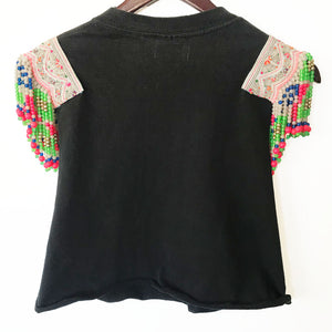 Farxng Distressed Wolf Graphic Tee with Hmong Multi Color Printed Textile and Hand Beaded Detail Back