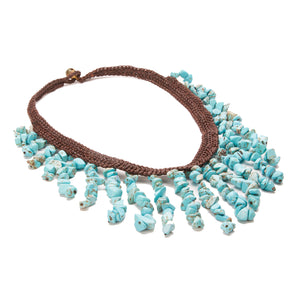 Ululani Crochet Necklace with Turquoise Teardrop Stones
