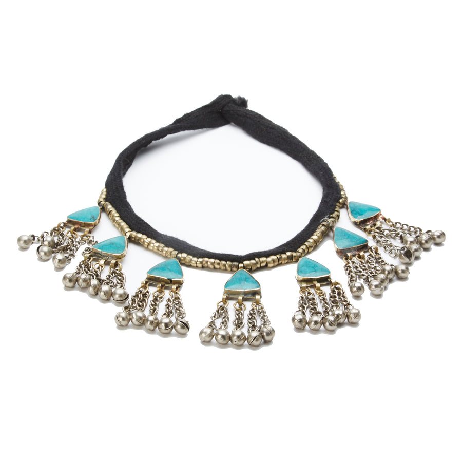 Bea Turquoise triangle with jingle beads necklace