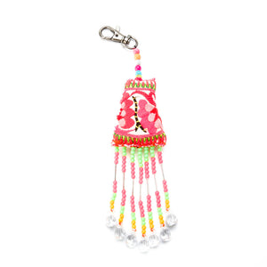 Bea Hmong printed beaded keychain