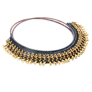 Malo Black Crochet Necklace with Gold Bead Accents