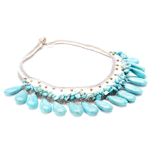 Olina Crochet Necklace with Turquoise Teardrop Stones