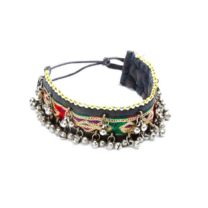 Phbhen Fabric Choker with Jingle beads