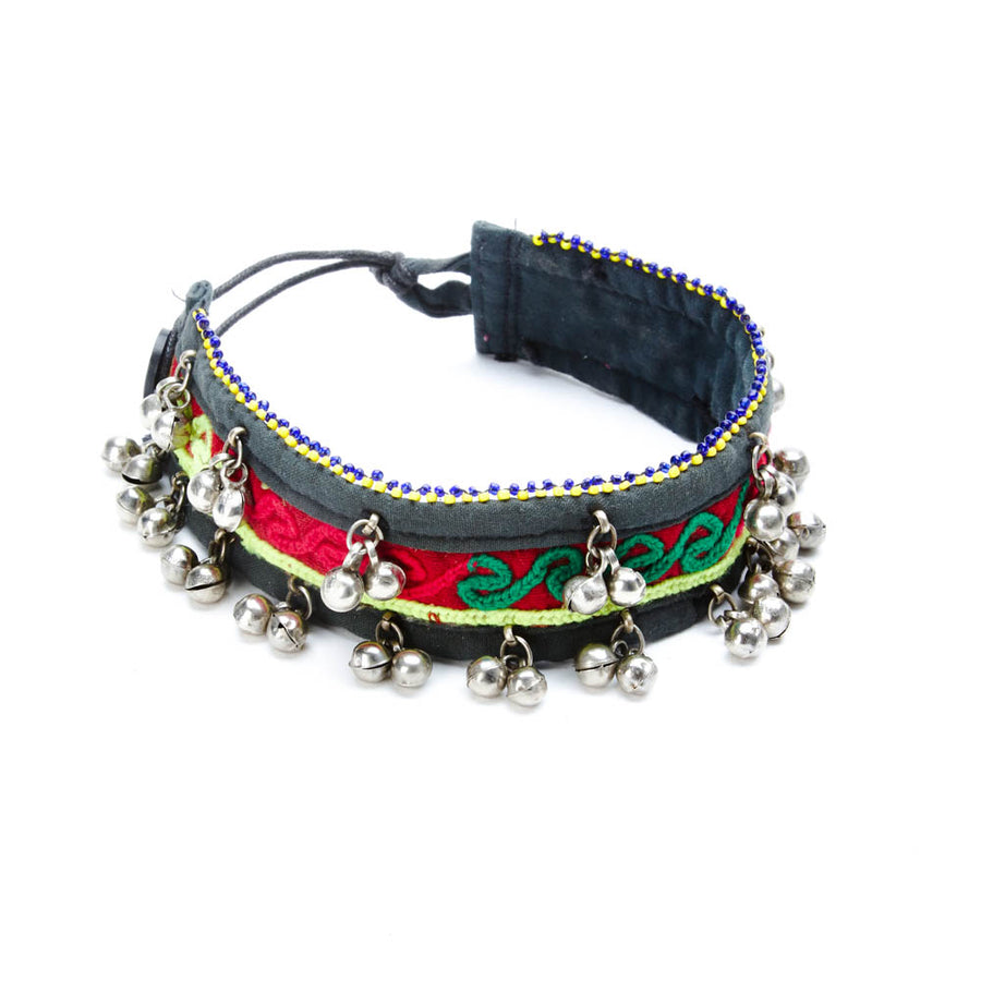 Fi Green and Pink Textile Choker with Jingle Beads