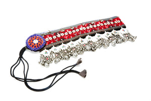 Chari Red Printed Coin Chain Belt with Red, Blue, and Jingle Beads