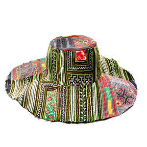 Pekelo Upcycled Red Green Printed Floppy Hat