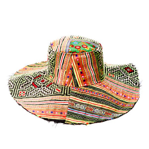 Liko Upcycled Orange Green Textile Floppy Hat